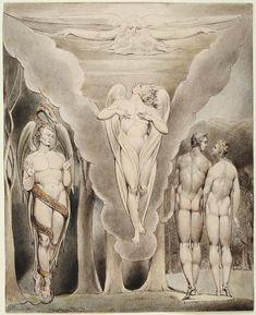 (Illustration to Milton`s Paradise Lost - Thomas Set) Satan Spying on Adam and Eve's Descent into Paradiseby  William Blake