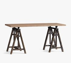 Francisco Draft Desk, Office Desk | Pottery Barn Saw Horse Table, Home Studio Desk, Studio Room, Desk Redo, Marble Desk, Reclaimed Wood Desk, L Shaped Desk, Room Planner, Desk With Drawers