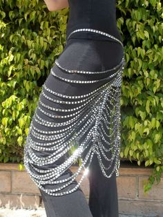 Art Deco Sparkle Skirt in Silver on Black by chovihani on Etsy, $45.00