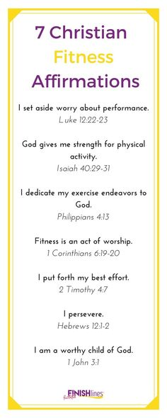 Do you want to dedicate your exercise and fitness efforts to God, but you aren't sure how? Use this 7 Christian Fitness Affirmations and printable cards. Gewichtsverlust Motivation, Weight Loss Motivation, Exercise Motivation, Exercise Quotes, Exercise Routines, Weight Loss Plans, Weight Loss Tips, Losing Weight, Weight Gain