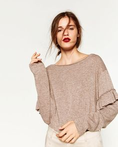 Image 2 of SWEATER WITH FRILLED SLEEVES from Zara