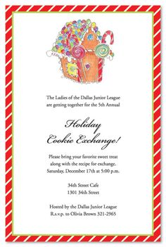 Holiday Gingerbread House Christmas Party Invitations
