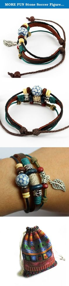 MORE FUN Stone Soccer Figure Bead Three Layers Soft Leather Cuff Bracelet with Leaf. Feature: Condition: 100% Brand new Unisex fashion accessory High quality durable leather Pure handmade Buckle three gears About 2.76 inches and 3.94 inches in diameter.