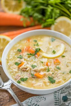 Low Fat Greek Lemon Chicken & Rice Soup