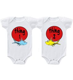 Thing 1 Thing 2 Twins Infant Short Sleeve Baby by BabyKidsGifts