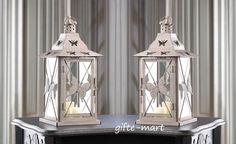 """2 distressed Butterfly 14"""" tall Candle holder Lantern lamp light terrace outdoor #Unbranded #FrenchCountry #TeaLightHolder"""