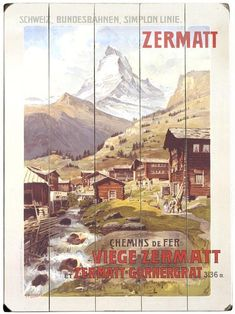Swiss Alps Zermatt Matterhorn Wooden Sign - Unframed Art - Wall Decor - Home Decor | HomeDecorators.com