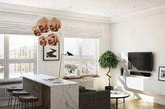 барная стойка в дизайне квартиры-студии 35 кв. м
