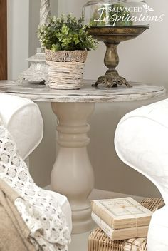 This table was made from a junk find bottom and a cable spool top!