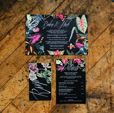 punchy floral invitation