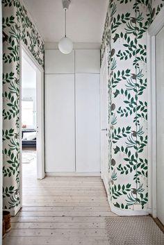 fresh green whimsical wallpaper hallway | room of the week on coco kelley