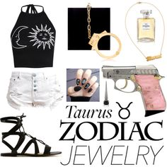 Taurus by hannderella on Polyvore featuring Boohoo, One Teaspoon, Gianvito Rossi, Charlotte Olympia, Chanel, Christian Louboutin and zodiacjewelry