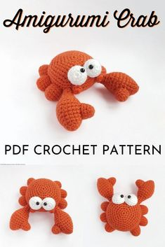 Mini Amigurumi Crab Crochet Pattern - - Amigurumi is one of my favourite things to make to give as a gift! It's so fun to be able to make your own stuffed animals. And the great thing about mini amigurumi is that the projects come …. Crochet Easter, Crochet Bee, Crochet Dragon, Cute Crochet, Crochet Crafts, Crochet Projects, Crochet Animal Patterns, Stuffed Animal Patterns, Crochet Patterns Amigurumi
