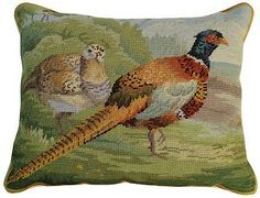 This needlepoint Pheasants in Field Pillow shows the strong featured Ring-necked pheasant. They are found from New England to California (mostly in the northern tier of states) with a major concentration in the Dakotas. Needlepoint Pillows, Needlepoint Designs, Needlepoint Kits, Hunting Cabin, Magnolia Wreath, State Birds, The Fox And The Hound, Pheasant, Handmade Decorations
