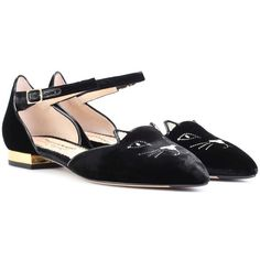 Charlotte Olympia Mid-Century Kitty Velvet Ballerinas ($450) ❤ liked on Polyvore featuring shoes, flats, black, charlotte olympia, black velvet flats, velvet shoes, velvet flats and charlotte olympia shoes