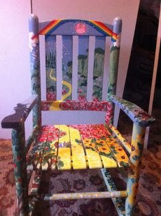 Wizard of Oz Rocking Chair by ThinningVeilArtworks on Etsy, $400.00 So wish I had the talent to DIY. My grandkids' room for when they visit is done in a Wizard of Oz theme.