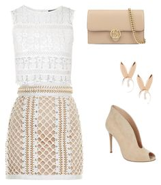 """""""À la Française"""" by morroquiina ❤ liked on Polyvore featuring Aamaya by priyanka, Balmain, Topshop, Gianvito Rossi and Gucci"""