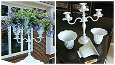 DIY Candelabra Flower Planter with Upcycled Ceiling Fan Shades - Redhead Can DecorateRedhead Can Decorate