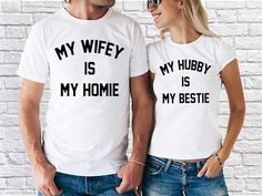 Wifey Hubby My Wifey Is Home My Hubby Is My Bestie fashion Couple T-shirt Set Matching Couple Shirts, Matching Couples, Fashion Couple, Couple Gifts, Besties, V Neck, Tees, Cute, Cotton