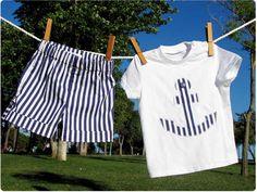 conjunto marinero bebe DIY Conjunto Marinero Bermuda y camiseta con aplicación #DIY