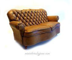 Miniature Dollhouse Leather Sofa by minijune on Etsy