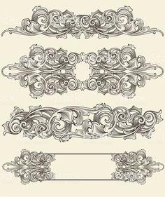 Scroll Blackleaf Set royalty-free scroll blackleaf set stock vector art & more images of antique Tatoo Art, Body Art Tattoos, Molduras Vintage, Filigree Tattoo, Graphisches Design, Leather Carving, Metal Engraving, Carving Designs, Free Vector Art