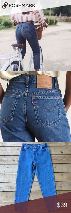 "Vintage 90's Levi's 550 High Waisted Jean Size 14 Prefect vintage Levi's in excellent condition! Tapered Leg. Waist in the front is 17"". Inseam is approx 31"". Offers are welcome. ☺️ Levi's Jeans"