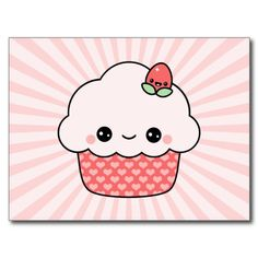 Kawaii Strawberry Cupcake Post Card. Created By LizaPhoenix