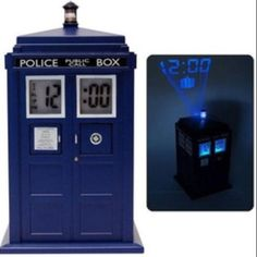"Tardis Clock IT MAKES THE TARDIS SOUND!!! OH MY GOODNESS!!!!!! I would wake up cuz of the ""vworp, vworp"" sound XD"