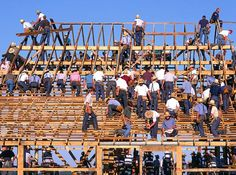 Amish Barn Raising - many hands make for a lot of work in a short time. The ladies will prepare a great meal!