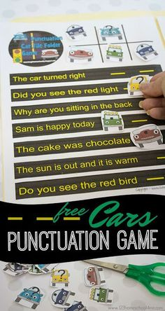 FREE Cars Punctuation Game - this printable is such a fun punctuation activities for kindergarten and first grade to practice. It is a fun way to make teaching stick! Punctuation Activities, Spelling Activities, Printable Activities For Kids, Worksheets For Kids, Kindergarten Activities, Writing Activities, Spelling Games, Speech Activities, Free Printables