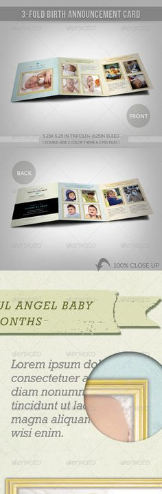 3-fold Birth Announcement Card With Images 02 - Cards & Invites Print Templates Download here:  https://graphicriver.net/item/3fold-birth-announcement-card-with-images-02/2874752?ref=alena994