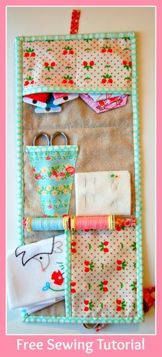 Lot's of Pink Patchwork Embroidery  Mending Kit - Free Sewing Tutorial  +  Quilt as You Go #1 - The Basic Technique