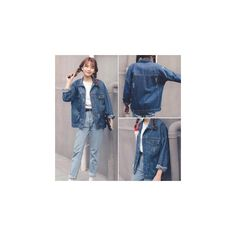 Distressed Denim Jacket (£23) ❤ liked on Polyvore featuring outerwear, jackets, women, blue jackets and distressed denim jacket