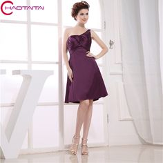 2017 one shoulder new hot brides maid gown custom size/color short purple strap sexy satin Bridesmaid Dresses #Affiliate