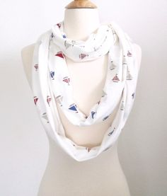 Sailboat scarf, Nautical Scarf, Infinity Scarf, Thin scarf, extra long scarf, Beach scarf, Accessories, Seaside, Boats scarf, Gift for her by SewBirdiful on Etsy