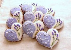 Excelente Items similar to Heart Shaped Bridal Shower Cookies on Etsy Gingerbread hearts decorated with lavend. Cookies Cupcake, Galletas Cookies, Fancy Cookies, Flower Cookies, Iced Cookies, Cute Cookies, Royal Icing Cookies, Sugar Cookies, Owl Cookies