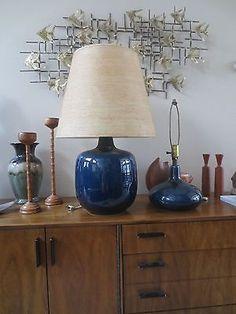 pair mid century modern danish lotte gunnar bostlund 2 lamps fiberglass shade