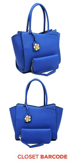 Summer Handbag in a bright blue color. Featuring a removable wallet in the same bright blue color. Plus, a cute floral charm.
