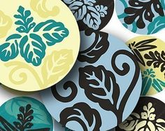 Hawaiian Mod Flowers in 2.6 inch circles for pocket mirrors and more -- piddix digital collage sheet 604