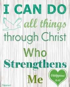 """""""I CAN DO ALL THINGS THROUGH CHRIST"""" by Diane Mitchell Blue Turquoise Christian Typography Wall Art"""
