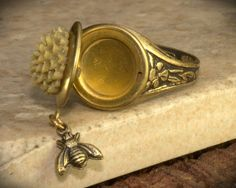 Bee LOCKET Ring Adjustable size Vintage by RADgiftsAndJewelry
