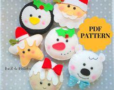 Felt christmas ornaments pattern Felt garland Christmas decor Felt Santa Christmas gifts PDF easy sewing tutorial Gingerbread Man Snowman