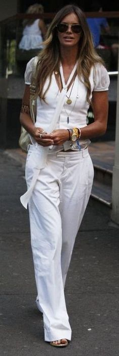 Schooled in style: Elle MacPherson, all white for summer.