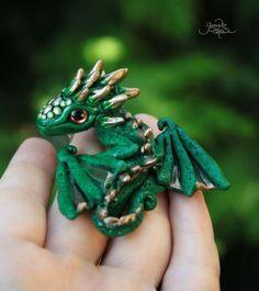 Tiny Rhaegal Baby Dragon - Dragon pendant - Game Of Thrones - Targaryen necklace - green dragon jewelry - polymer clay - OOAK - fantasy - fimo art - hadmade - by GloriosaArt
