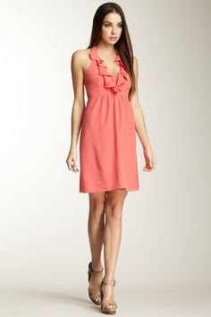 Dawn Silk Ruffle Halter Dress in coral