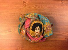 Hand painted brooch Textile brooch Gustav Klimt Woman portrait Gift brooch Fabric brooch Art brooch Stylish brooch textile jewelry  NatashaArtDolls