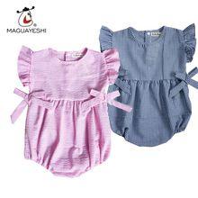 Macacão de bebê Verão Novo Babados Macacão Sunsuit Listradas Bebê Meninas…
