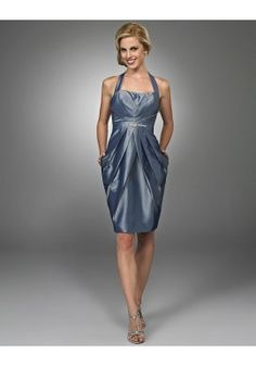 SIMIbridal Bridesmaid Dresses - Halter Knee Length Taffeta Grey Bridesmaid Dress BD0222  and more dresses by SIMI bridal at SIMIbridal.com.