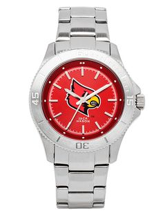 The Louisville Cardinals Ladies watch with school color dial and large centered school logo. https://jackmasonbrand.com/product/louisville-cardinals-ladies-sport-bracelet-team-color-dial-watch/